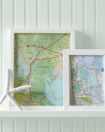Hand-stitch the route you took on a vacation, and frame it. You'll have a gallery of getaways and a reminder to look back fondly on family adventures -- including that time the car broke down.