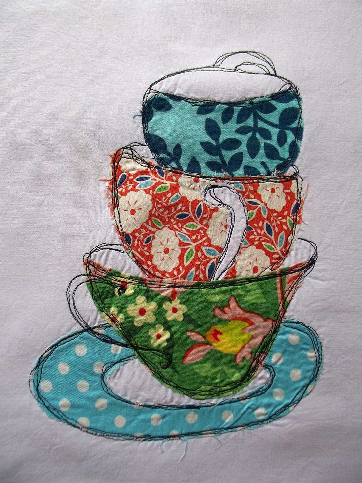 tea cups with free motion stitching