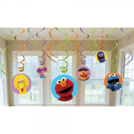 Elmo Sesame Street Party Foil Hanging Swirl Decorations / Spiral Ornaments (12 PCS)- Party Supply, Party Decorations