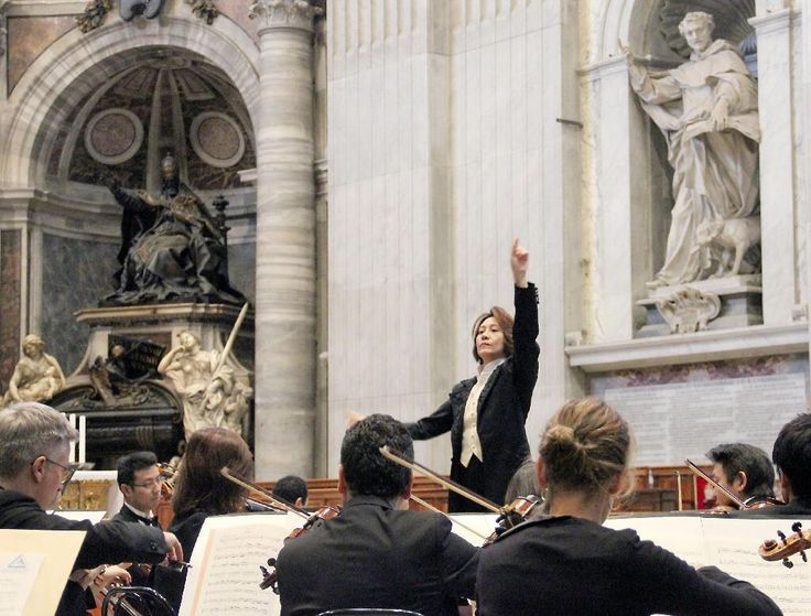 Tomomi Nishimoto, conductor at the Vatican for the 15th International Festival of Sacred Music and Art, the Vatican, on 16th November 2016.