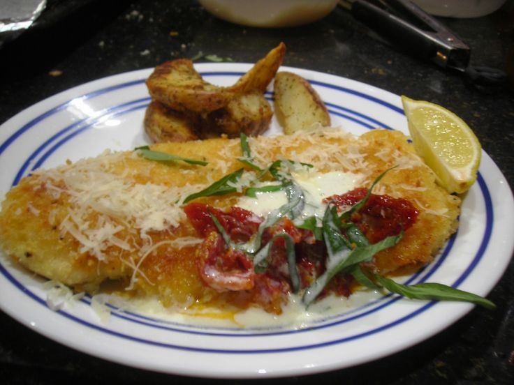 Parmesan Crusted Chicken Breast with Lemon Chardonnay Butter Sauce and Fresh Bas…