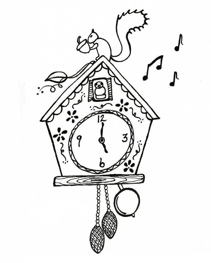 Cuckoo clock coloring page graphics pinterest clock coloring pages and coloring - Colorful cuckoo clock ...
