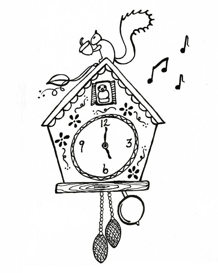 cuckoo clock  print  color  enjoy    xoxo
