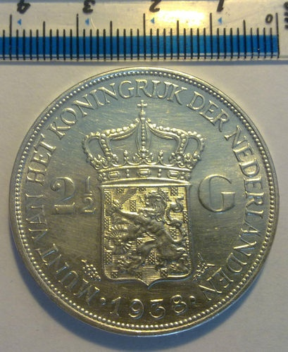 Silver 1938 NETHERLANDS 2.5 two and half gulden COIN