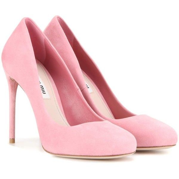Miu Miu Suede Pumps (1,370 BAM) ❤ liked on Polyvore featuring shoes, pumps, heels, sapatos, pink, pink shoes, pink heeled shoes, suede leather shoes, suede pumps and heel pump