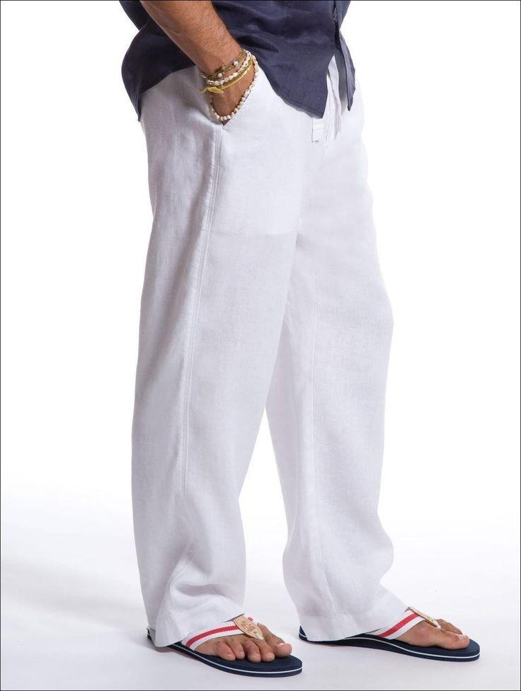 Mens Drawstring Linen Pants