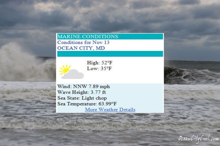 Ocean City MD Weather Forecast for Thursday, Nov 13, 2014 - Got some warm sun coming before a right chilly night... #oceancity