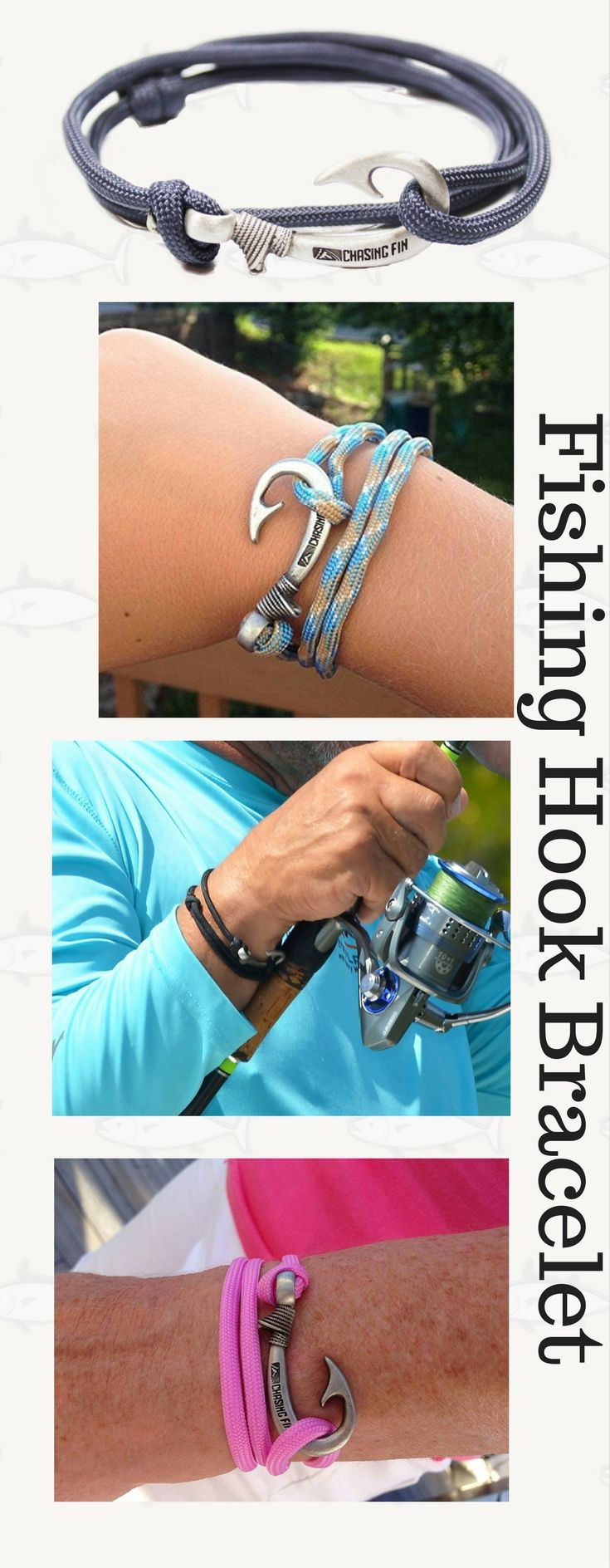 Adjustable Fish Hook Bracelet. Great for fishermen and women! Can be worn as necklace or anklet too. - Bait Cast -and- Fish Reels