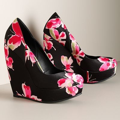 So cute!: Floral Wedges, Platform Wedges, Gifts Cards, Black Wraps Dresses, Pink Wedges, Diet Recipes, Woman Shoes, Little Black Dresses, Gossip Girls