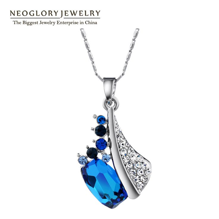 Neoglory Blue Austrian Crystal Auden Rhinestone Necklaces & Pendants For Women Fashion Brand Jewelry  2016 New QC Dressional   Price: US $14.19  Sale Price: US $10.64  #dressional