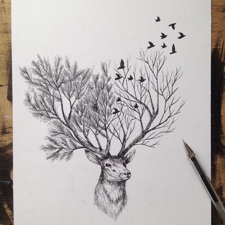 Le créateur de cette oeuvre est Alfred Basha.Cette pièce d'art a un chevreuil avec un panache remplacé par deux arbres.La technique utilisée est le dessin avec un stylo.C'est pour cette raison que le dessin est en noir et blanc.Cela est surtout composé de ligne droite.La fourrure du chevreuil apporte une texture.Si tu regardes l'image,le panache prend la plupart de la place,il a quelques oiseaux qui virevoltent autour de lui.Quand je regarde ce chevreuil,je ressens de la paix.
