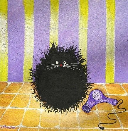 If Cats Could Play with Hair Dryers  Funny Cat Art by annya127, $17.00 - would love this for the bathroom!