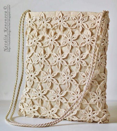 Crochet Tote Summer Bag - free crochet pattern by Natalia Kononova. Full instructions on joining the motifs, constructing the bag, and lining it.