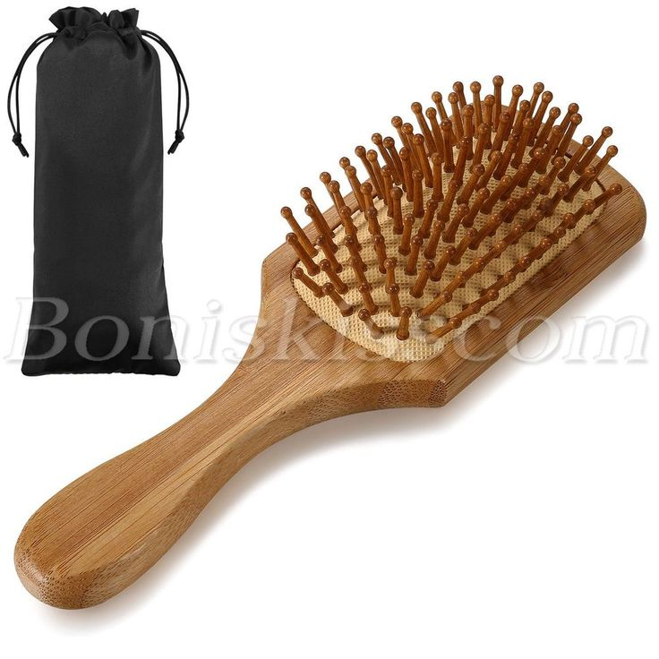 Pro Anti-static Bamboo Airbag Massage Head Scalp Straight Curly Hair Brush Comb #Unbranded