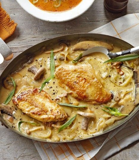 Dijon Chicken ---- 4 chicken breasts, 1C mushrooms, 1 garlic clove, 1 onion, sliced, 3T dijon mustard, 1T fresh tarragon, chopped, 2C white wine, splash of brandy