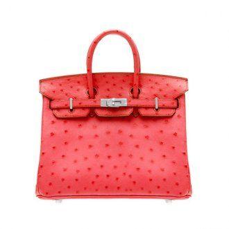 Hermes Birkin Bag 25 Bougainvillier Ostrich Leather Silver Hardw