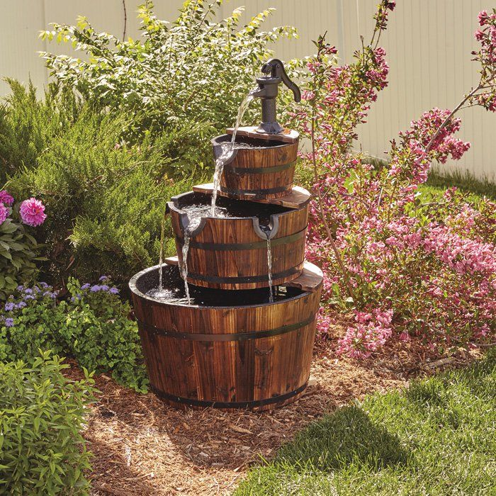 3 Tier Wooden Water Fountain With Pump Diy Water Fountain Water Fountain Fountains Outdoor