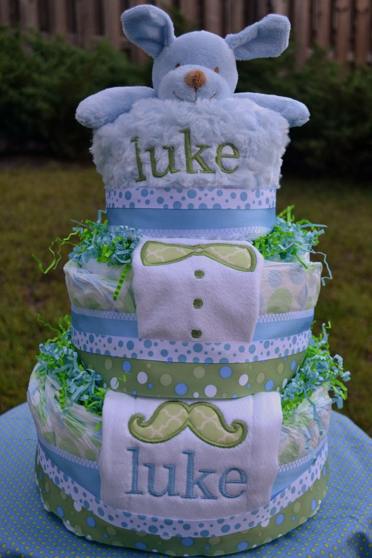 Winnie the pooh baby shower centerpiece ideas 48pc baby shower winnie - Monogrammed Diaper Cake For A Mustaches And Bow Ties Baby Shower By Bibberberry