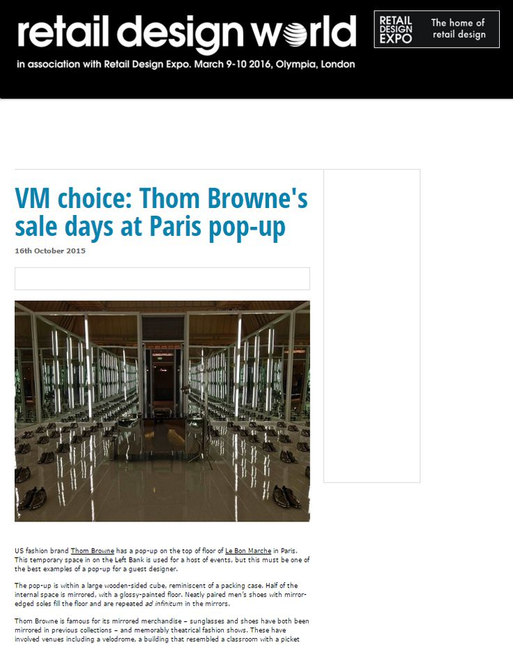 VM choice: Thom Browne's sale days at Paris pop-up - RETAIL DESIGN WORLD #Press #Pressbook #mode #fashion #shoe #shoes #retail