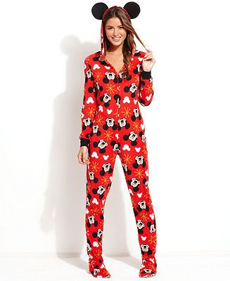 Mickey Mouse Hooded Footed Pajamas - Lingerie - Women - Macy's