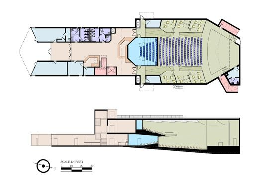 floor plan template for theatre   Floor Plan and Section View