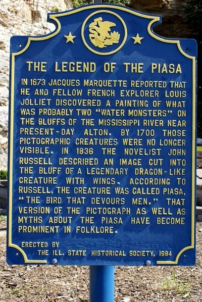 Dad took us fishing in Illinois and we drove past the piasa bird painted on the cliff. Great River Road - legend of the Piasa bird - Alton, IL