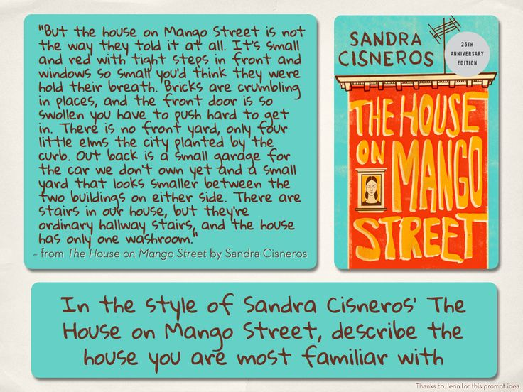 an analysis of the book the house on mango street by sandra cineros Ok, so at first glance the house on mango street may not appear to be a good  candidate for a classic plot analysis the structure of the novel isn't very.