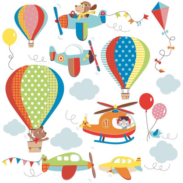 High Flying Airplanes Peel & Stick Kids Room/ Nursery Wall Decal for Boys & Girls