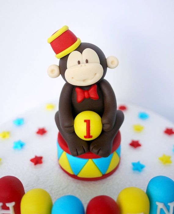 Fondant Circus Cake Topper - Fondant animal monkey with stars and name blocks