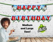 Bob Ross Happy Birthday Banners Instant download Printable