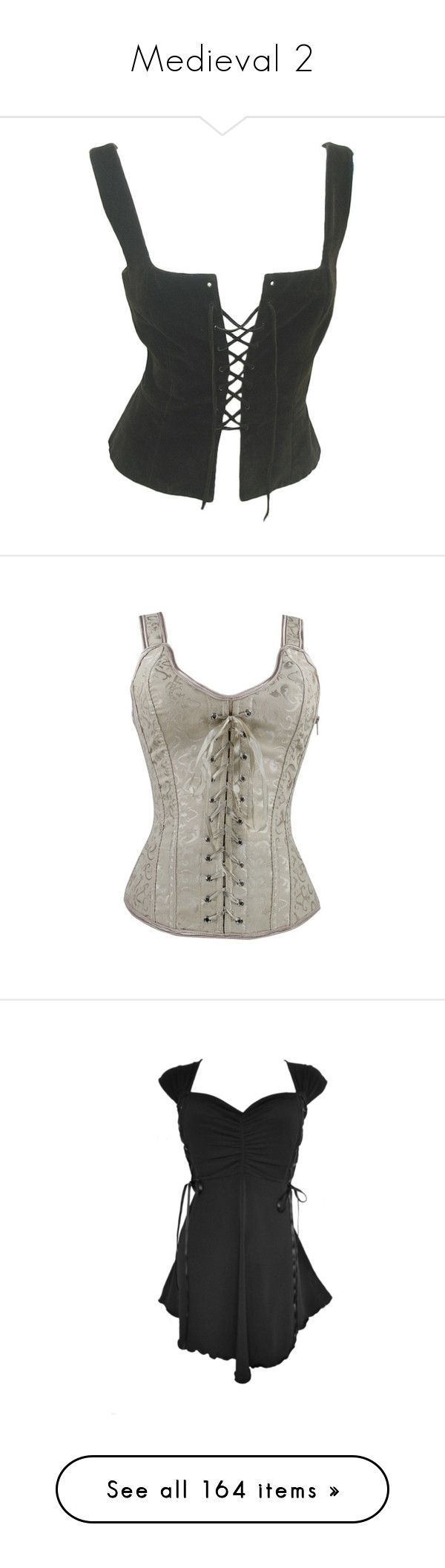 """Medieval 2"" by jeanettebeatrice ❤ liked on Polyvore featuring intimates, shapewear, corsets, tops, vests, bodice, shirts, apricot, dresses and plus size gothic tops"