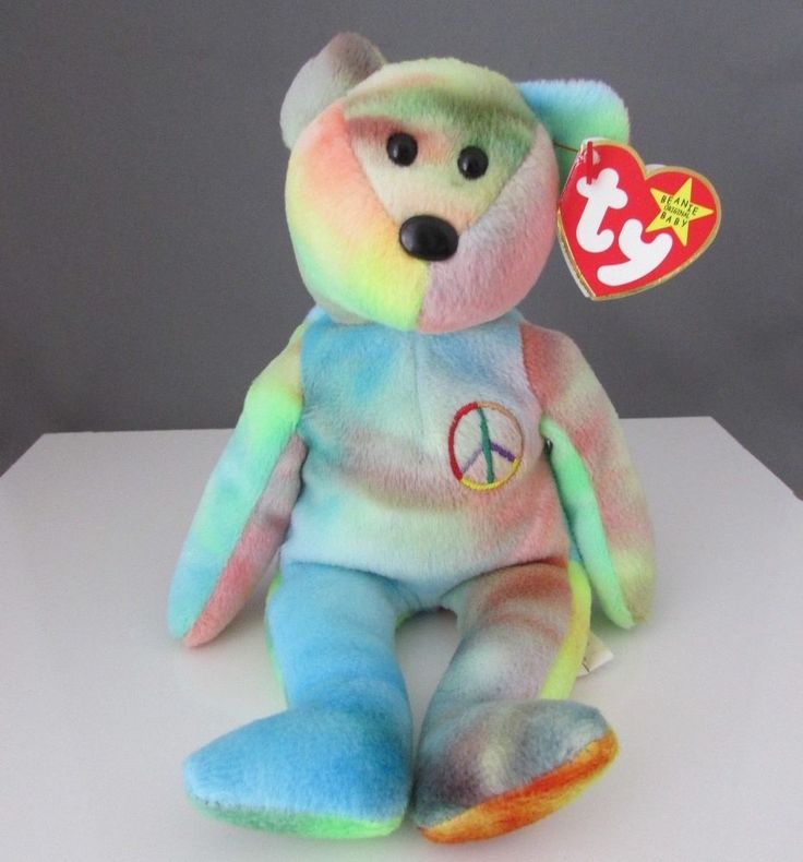 TY Beanie Baby - PEACE The Ty-Dyed Bear (Made in Indonesia) 1996 #Ty #beaniebaby #beaniebabies #rare #collectors #toys #teddy #bears #beaniebabycommunity #beaniebabiescommunity