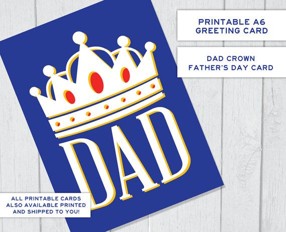 Crown Father's Day Printable Card  King Dad Card by theRasilisk