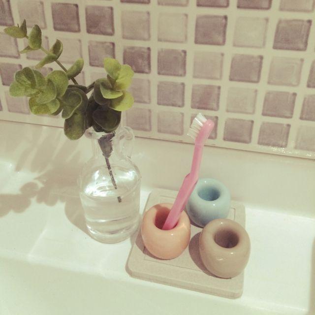 muccoさんの、こどもと暮らす。,無印良品,歯ブラシスタンド,ぬめり予防,珪藻土,珪藻土コースター,バス/トイレ,のお部屋写真