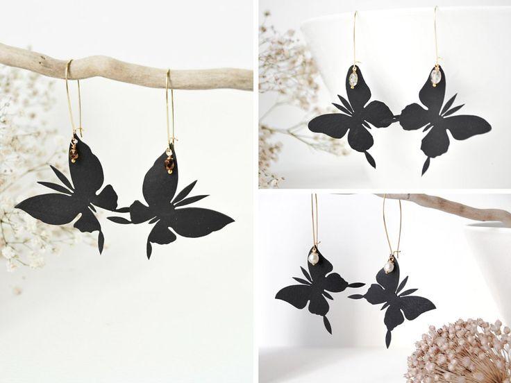 Set orecchini farfalle in camera d'aria riciclata, pietre e perle, per amiche o damigelle. 3 paia di orecchini. di CamillapiEcoDesign su Etsy