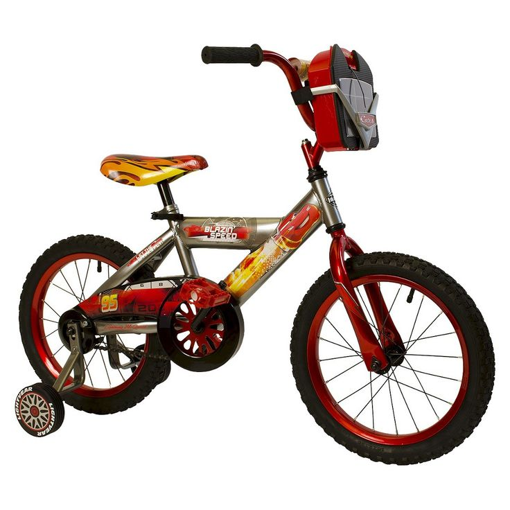 "Huffy Disney Cars 16"" Boys Bike with Car Carrier - Grey/Red"