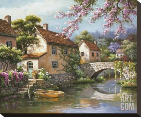 Country Village Canal Stretched Canvas Print by Sung Kim at Art.com