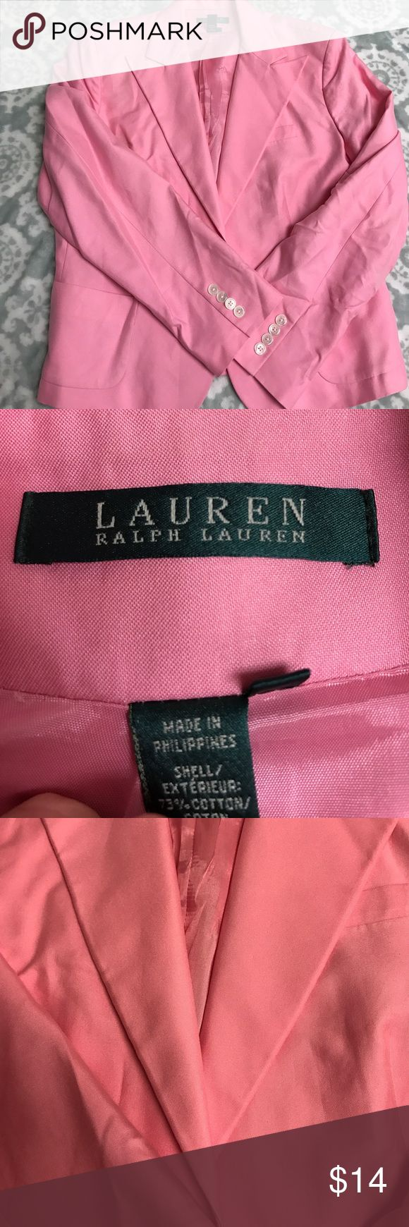Ralph Lauren blazer Very cute. Some wear. Pink Ralph Lauren blazer. Has small shoulder pads. Lauren Ralph Lauren Jackets & Coats Blazers