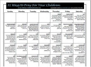 31 Ways to Pray for your Children-- Who doesn't need to pray for her children.