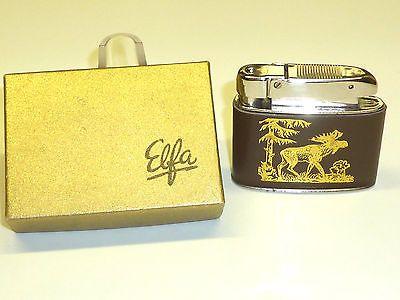 ELFA AUTOMATIC LIGHTER W. LEATHER COAT (METALL-GERÄTE ELGERSBURG) -1958 -GERMANY Sammeln & Seltenes:Tabak, Feuerzeuge & Pfeifen:Feuerzeuge:Alt (vor 1970)