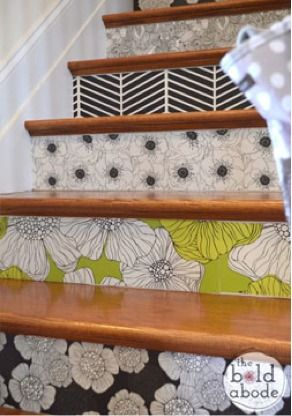 A fun way to stylize stairs with wallpaper.