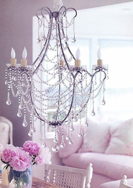 gorgeous chandelierLights, Decor, Soft Pink, Shabby Chic, Girls Room, Living Room, Crystals Chandeliers, Chic Interiors, Pink Room