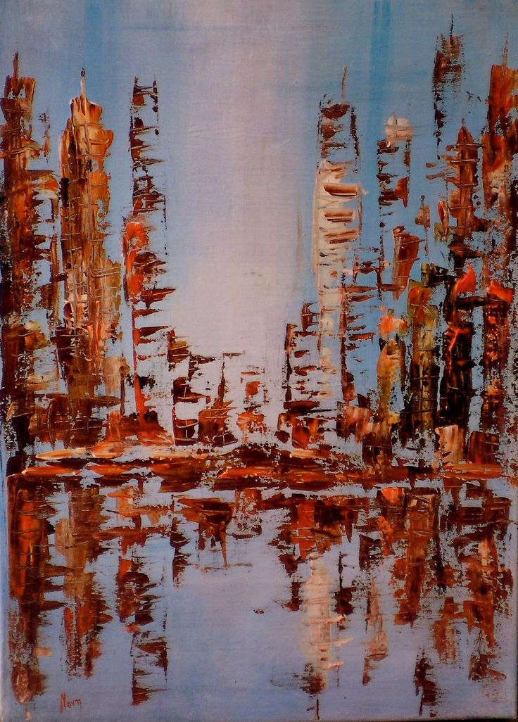 Original abstract city palette knife by noni pulga