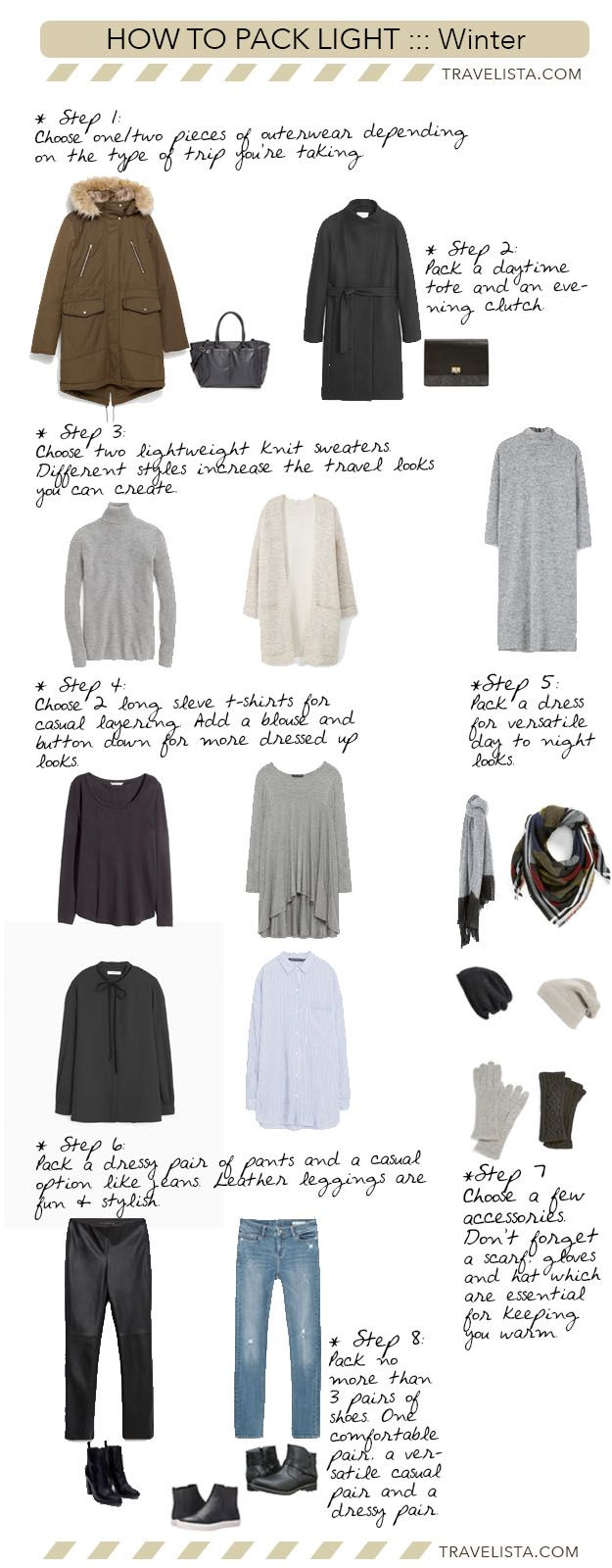Here's a quick Winter Packing Light Travel Capsule to get you through the remaining cold weather. If you need a refresher on how to layer during winter travel, read my thorough Guide to Cold Weather Layering. It's truly all about smart layering for winter travel. This 11 piece capsule should be used as a guide...
