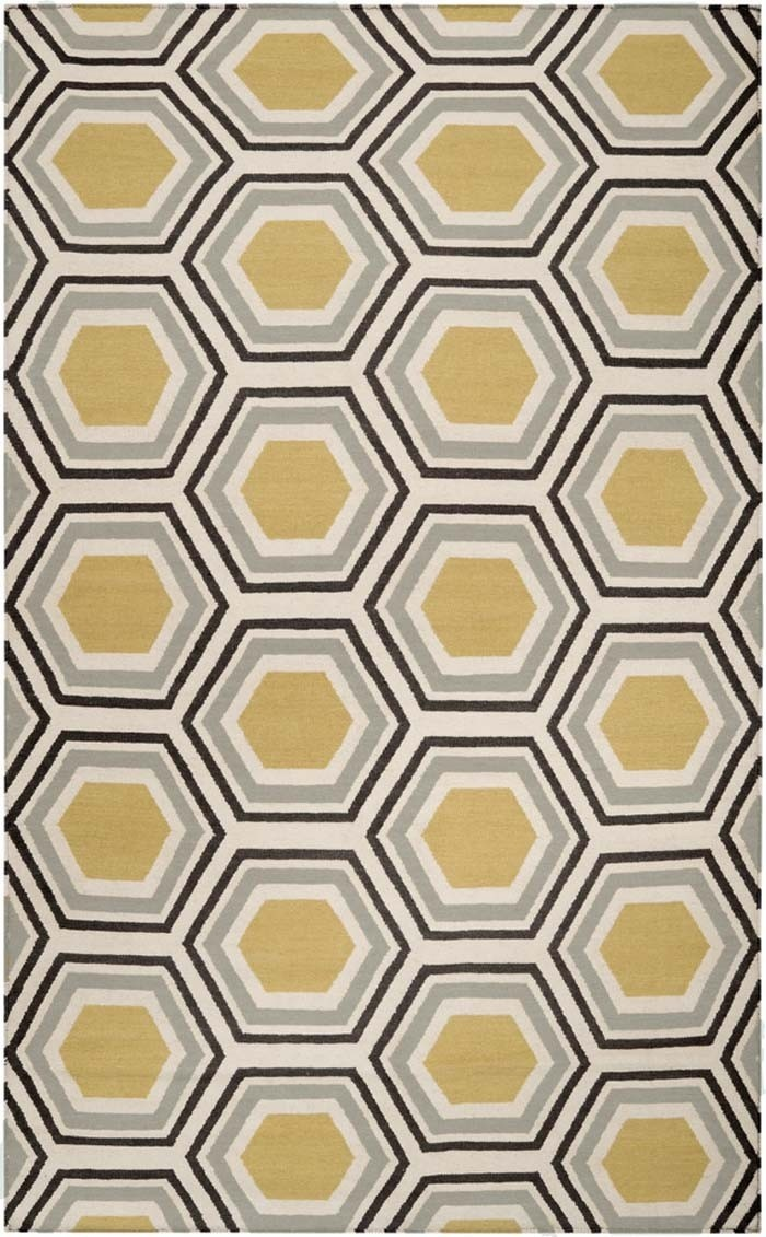 Honeycomb pattern rug in mustard yellow, grey, charcoal
