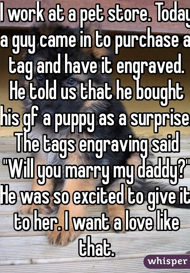 """I work at a pet store. Today a guy came in to purchase a tag and have it engraved. He told us that he bought his gf a puppy as a surprise. The tags engraving said """"Will you marry my daddy?"""" He was so excited to give it to her. I want a love like that."""