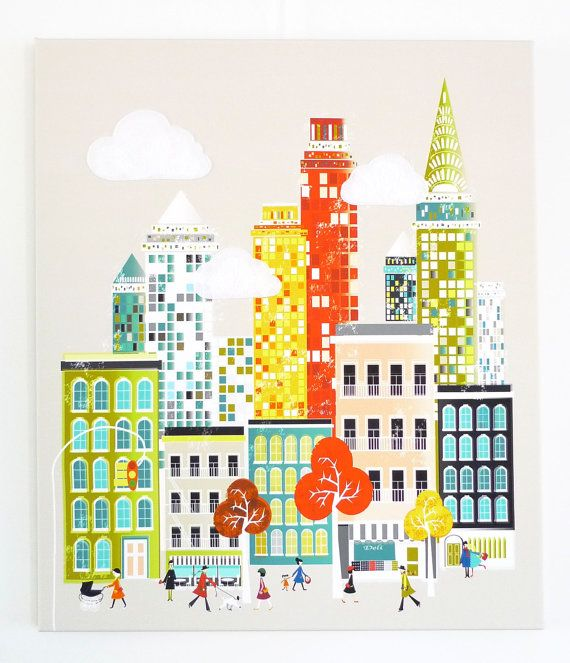 New York America  Cityscape Canvas Art / City Art by lauraamiss on etsy.com
