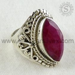 925 sterling Silver Ring with Natural Ruby.