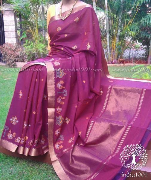 Elegant Mangalgiri Handloom Cotton Saree with Kasuti Work