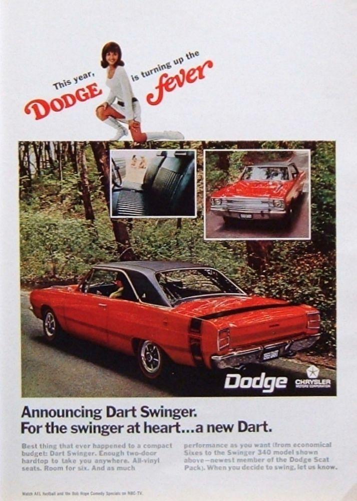 "1968 PRINT AD: '69 Dodge Dart Swinger ""Turning Up the ..."